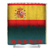 Madrid Spain City Skyline Flag Shower Curtain