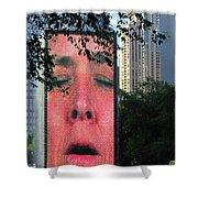 Man Face Crown Fountain Chicago Shower Curtain