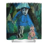 Man In A Park With A Baby Shower Curtain