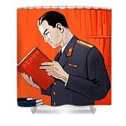 Man Is Reading Lenin Books Shower Curtain