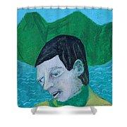 Man Leaving An Island Shower Curtain