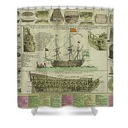 Man Of War Ship Diagram - German - 18th Century Shower Curtain