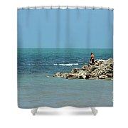 Man On Rocks Looks Out To Ocean From Rocky Beach Jaffna Peninsula Sri Lanka Shower Curtain