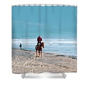 Man Riding On A Brown Galloping Horse On Ayia Erini Beach In Cyp Shower Curtain
