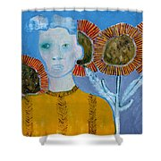 Man With Sunflowers Shower Curtain
