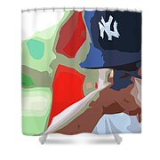 Man With Yankees Cap Shower Curtain