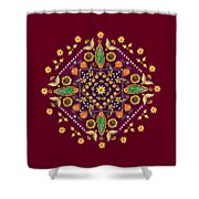 Mandala Flowering Series#2. Terracotta Shower Curtain