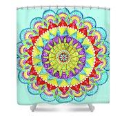 Mandala Of Many Colors On Turquoise Shower Curtain
