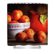 Mandarin Oranges And Orange Shaped Pitcher Shower Curtain