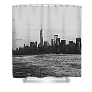 Manhatta, New Jersey And The Statue Of Liberty Shower Curtain