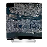 Manhattan - 2012 From Space Shower Curtain by Celestial Images