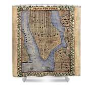 Manhattan New York Antique Map Brooklyn Hand Painted Shower Curtain