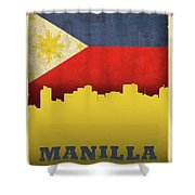 Manilla Philippines City Skyline Flag Shower Curtain
