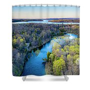 Manistee River And Hodenpyle Dam Aerial Shower Curtain