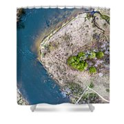Manistee River Bend Aerial Shower Curtain