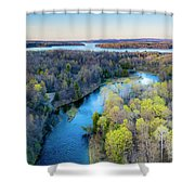 Manistee River Evening Aerial Shower Curtain