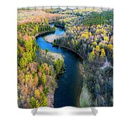 Manistee River From Above In Spring Shower Curtain