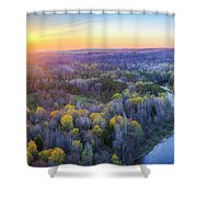 Manistee River Sunset Aerial Shower Curtain