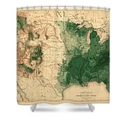 Map Of American Forests 1883 Shower Curtain