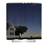 Marblehead Lighthouse At Night Shower Curtain