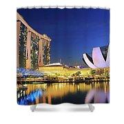 Marina Bay Sands Art Science Museum And Helix Bridge At Dusk Singapore Shower Curtain