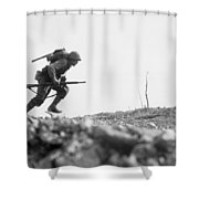 Marine Dash On Okinawa Shower Curtain by War Is Hell Store