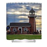 Mark Abbott Memorial Lighthouse And Santa Cruz Surfing Museum Shower Curtain