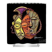 Maruvian Masks 2 Black Shower Curtain