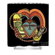 Maruvian Masks 5 Black Shower Curtain