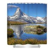 Matterhorn From Lake Stelliesee 07, Switzerland Shower Curtain