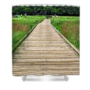 Boardwalk At Mccormack's Beach Provincial Park Shower Curtain