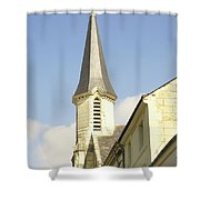 medieval church spire in France Shower Curtain