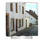 medieval cobbled street in Culross, fife Shower Curtain