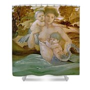 Mermaid With Her Offspring Shower Curtain