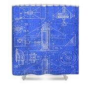 Merry Go Round Amusement Carousel Vintage Patent Blueprint Shower Curtain