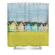 Mersea Island Beach Hut Oil Painting Look 1 Shower Curtain