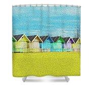Mersea Island Beach Hut Oil Painting Look 2 Shower Curtain