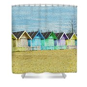 Mersea Island Beach Hut Oil Painting Look 3 Shower Curtain