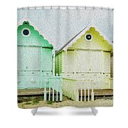 Mersea Island Beach Hut Oil Painting Look 5 Shower Curtain