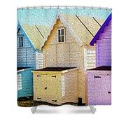 Mersea Island Beach Hut Oil Painting Look 6 Shower Curtain