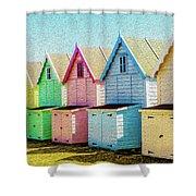Mersea Island Beach Hut Oil Painting Look 7 Shower Curtain