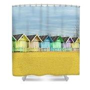 Mersea Island Beach Huts, Image 1 Shower Curtain
