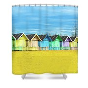 Mersea Island Beach Huts, Image 2 Shower Curtain