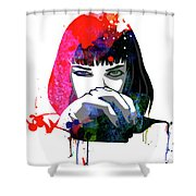 Mia Snorting Watercolor Shower Curtain