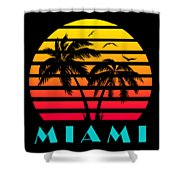 Miami 80s Tropical Sunset Shower Curtain