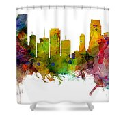 Miami Florida Skyline Panoramic Shower Curtain