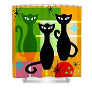 Mid Century Modern Abstract Mcm Bowling Alley Cats 20190113 Square Shower Curtain by Wingsdomain Art and Photography