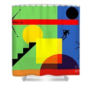Mid Century Modern Abstract Over The Edge 20190106 Horizontal Shower Curtain