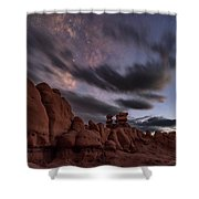 Milky Way Rises Over Goblins Shower Curtain
