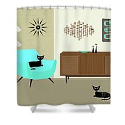 Mini Fish Art Aqua Chair Shower Curtain
